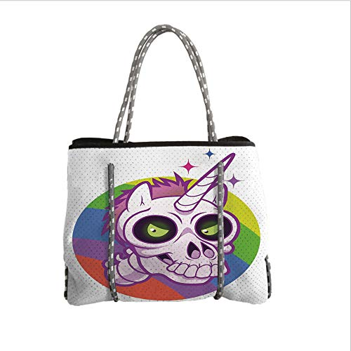 iPrint Neoprene Multipurpose Beach Bag Tote Bags,Doodle,Doodle Style Cartoon Unicorn Skull with Green Eyes with Rainbow Background Funny,Multicolor,Women Casual Handbag Tote Bags