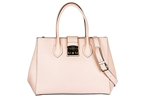 Furla women's leather handbag shopping bag purse metropolis pink