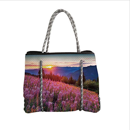 Neoprene Multipurpose Beach Bag Tote Bags,Countryside,Idyllic Spring Meadow on The Mountains with Flowers Rural Sunrise Landscape,Pink Blue,Women Casual Handbag Tote Bags