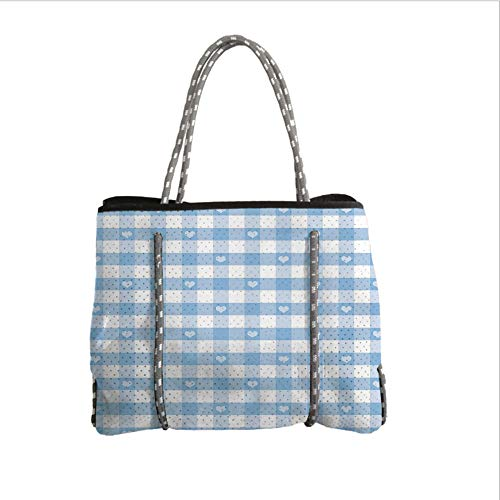 iPrint Neoprene Multipurpose Beach Bag Tote Bags,Checkered,Gingham Motif with Cute Little Hearts Pastel Blue Baby Shower Kids Theme,Light Blue White,Women Casual Handbag Tote Bags