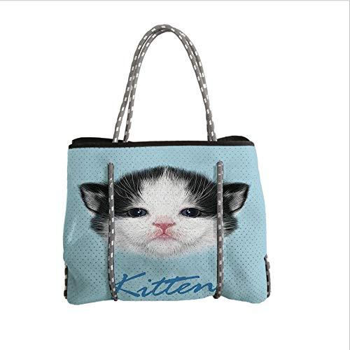 iPrint Neoprene Multipurpose Beach Bag Tote Bags,Cartoon Decor,Portrait of Domestic Kitten Newborn Bicolor Fury Head Pink Wet Nose Artsy Graphic,Black White Blue,Women Casual Handbag Tote Bags