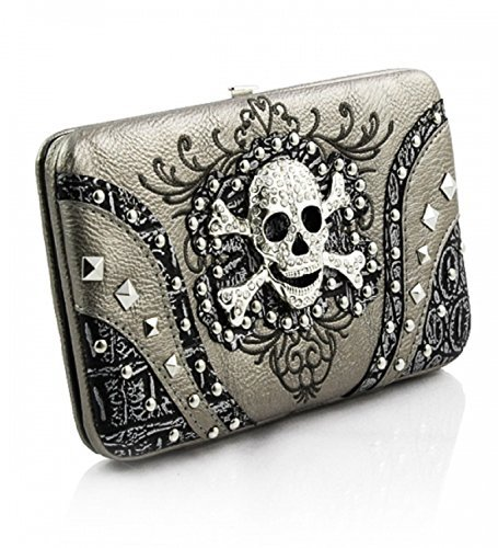 Pewter Skull Studded Clutch Wallet
