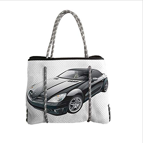 iPrint Neoprene Multipurpose Beach Bag Tote Bags,Cars,Black Modern Sport Car Drive Transportation Automobile Front View Collectors,Black Grey White,Women Casual Handbag Tote Bags