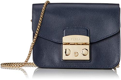 Furla Women's Furla Metropolis Mini Blue Leather Shoulder Bag Blue