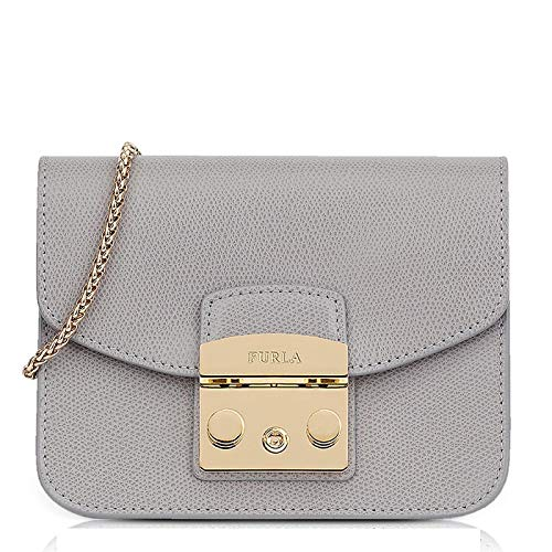 Furla women's leather shoulder bag original Metropolis grey