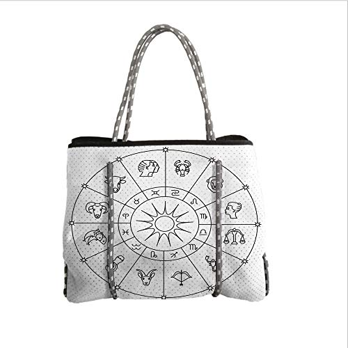 iPrint Neoprene Multipurpose Beach Bag Tote Bags,Astrology,Sketchy Zodiacal Circle with Astrology Signs Aries Aquarius Pisces Lion Art,Black and White,Women Casual Handbag Tote Bags