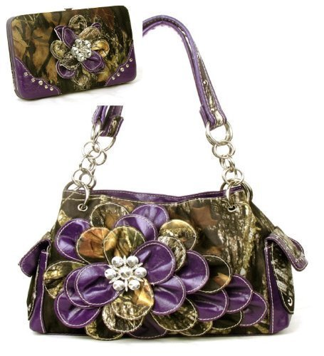 Western Purple Camouflage Flower Rhinestone Handbag W Matching Wallet