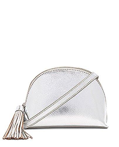 Loeffler Randall Silver Crossbody Tassel Pouch Handbag
