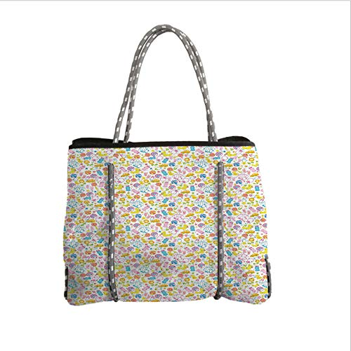 iPrint Neoprene Multipurpose Beach Bag Tote Bags,Baby,an Assortment of Infant Items Toys Footprints Milk Bottles Flower Arrangement Design Decorative,Multicolor,Women Casual Handbag Tote Bags
