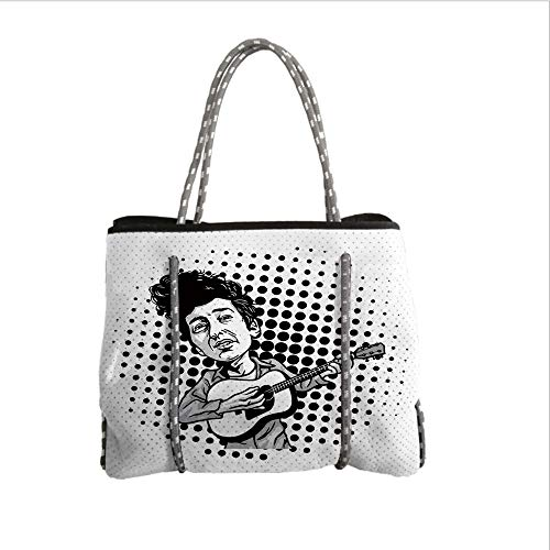 iPrint Neoprene Multipurpose Beach Bag Tote Bags,Bob Dylan Decor,Pop Art Cartoon Style Musician Playing Guitar Folk Music Singer Icon Decorative,Black Grey White,Women Casual Handbag Tote Bags