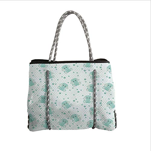 Neoprene Multipurpose Beach Bag Tote Bags,Elephant Nursery Decor,Young Elephants in Spring Meadow Daisies Child Baby Theme Decorative,Light Blue Baby Blue,Women Casual Handbag Tote Bags