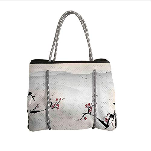 iPrint Neoprene Multipurpose Beach Bag Tote Bags,Asian Decor,Japanese Nature Landscape with National Sakura Flower Over Himalayas and Flying Gulls,Beige Red Black,Women Casual Handbag Tote Bags