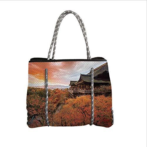 iPrint Neoprene Multipurpose Beach Bag Tote Bags,Asian,Japanese Temple in Autumn with Faded Falls Trees and Magical Sky Landscape Ritual,Orange Green,Women Casual Handbag Tote Bags