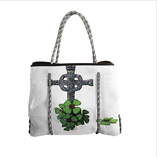 iPrint Neoprene Multipurpose Beach Bag Tote Bags,Celtic,Celtic Knot Pattern with Four Leaf Clover Floral Design Saint Patricks Day Theme,Grey Green,Women Casual Handbag Tote Bags