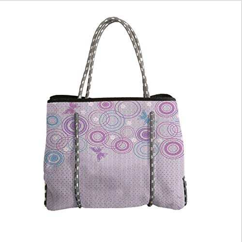 iPrint Neoprene Multipurpose Beach Bag Tote Bags,Butterfly,Abstract Soft Color Background with Lovely Summer Season Animals and Circles,Lilac Blue Pink,Women Casual Handbag Tote Bags