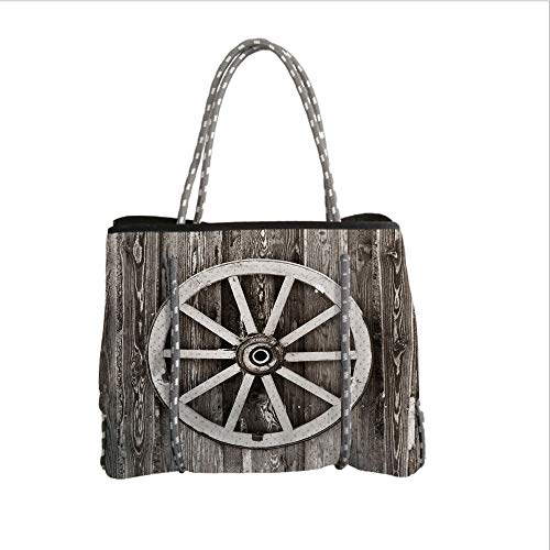 iPrint Neoprene Multipurpose Beach Bag Tote Bags,Barn Wood Wagon Wheel,Retro Wheel on Timber Wall Barn House Village Cart Circle Decorative,Dark Brown and White,Women Casual Handbag Tote Bags