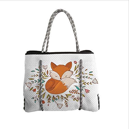 Neoprene Multipurpose Beach Bag Tote Bags,Cartoon,Cute Baby Fox Sleeping in a Floral Made Bed Circle Art Print,Dark Orange White Teal Coral,Women Casual Handbag Tote Bags