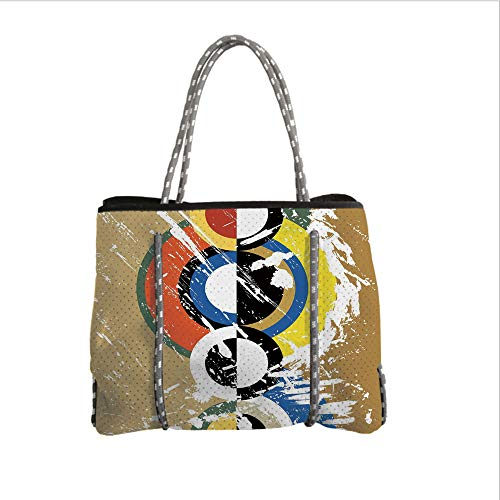 Neoprene Multipurpose Beach Bag Tote Bags,Art,Abstract Geometric Grunge Stylized Circles Triangles with Paint Strokes Trippy Design Decorative,Multicolor,Women Casual Handbag Tote Bags