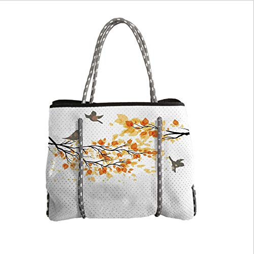 iPrint Neoprene Multipurpose Beach Bag Tote Bags,Fall,Branch with Pale Fall Leaves and Birds Natural Change in Season Summertime Print,Yellow Cream,Women Casual Handbag Tote Bags