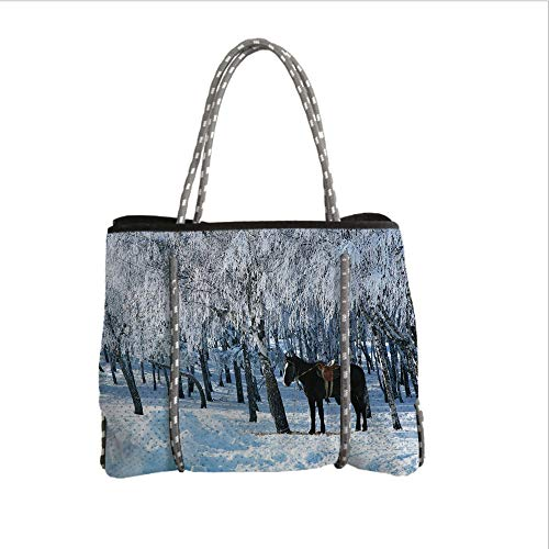 Neoprene Multipurpose Beach Bag Tote Bags,Equestrian Decor,Horse Between Trees in Winter Forest Frozen Woods ICY Land Nature Picture,Brown White,Women Casual Handbag Tote Bags