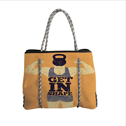 iPrint Neoprene Multipurpose Beach Bag Tote Bags,Vintage Decor,Get in Shape with a Male Human Body with Muscles Bodybuilding Comic Design Image,Orange,Women Casual Handbag Tote Bags