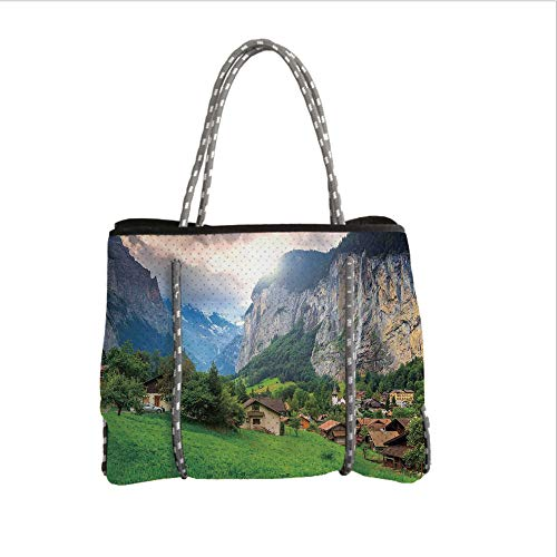 iPrint Neoprene Multipurpose Beach Bag Tote Bags,Farm House Decor,Town by The Rocks on Waterfall Background European Peaks Sunlight The Alps,Green Grey,Women Casual Handbag Tote Bags