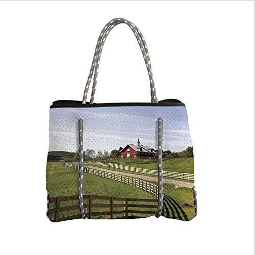 iPrint Neoprene Multipurpose Beach Bag Tote Bags,Farm House Decor,Long Photo of Flowing Fence of Country House in Rural Grassland Ranch Pastoral,Multi,Women Casual Handbag Tote Bags