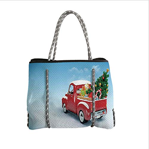 iPrint Neoprene Multipurpose Beach Bag Tote Bags,Christmas,Red Classical Pickup Truck with Tree Gifts and Ornaments Snowy Winter Day Image Decorative,Blue Red,Women Casual Handbag Tote Bags