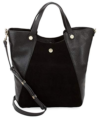 Halston Leather & Suede Tote, Black