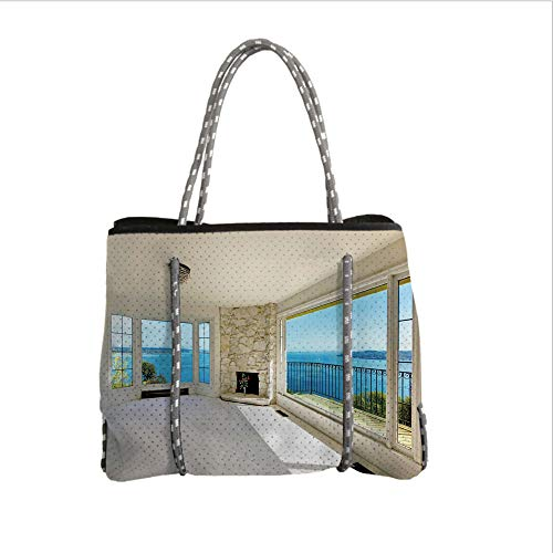iPrint Neoprene Multipurpose Beach Bag Tote Bags,Modern Decor,Modern Hollywood Star Houses Inspired Design with Ocean Nature Forest View Art,White and Blue,Women Casual Handbag Tote Bags
