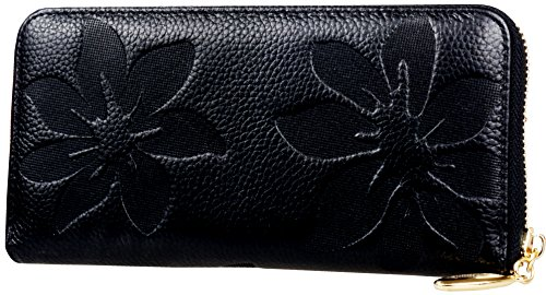 Heshe Womens Leather Wallets Long Zippered Around Handbag Card Case Holder Money Clip Wallet (Black-E005)