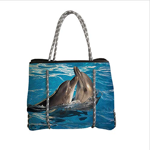 iPrint Neoprene Multipurpose Beach Bag Tote Bags,Dolphin,Aqua Show Pair of Dolphins Dancing in The Pool Animal Family Tenderness Love,Blue Dark Taupe,Women Casual Handbag Tote Bags