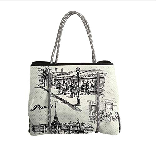 Neoprene Multipurpose Beach Bag Tote Bags,Eiffel Tower Decor,Paris Sketch Style Cafe Restaurant Landmark Canal Boat Streetlamp Retro Art Print,Black White,Women Casual Handbag Tote Bags