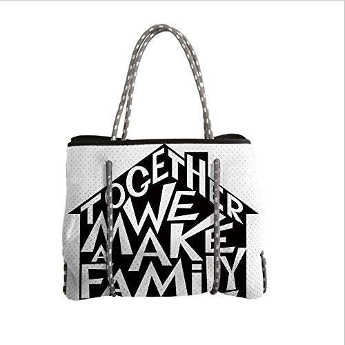 iPrint Neoprene Multipurpose Beach Bag Tote Bags,Family,Together We Make a Family Shaped as a House Stylized Lettering Hipster Design,Black and White,Women Casual Handbag Tote Bags