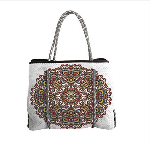 iPrint Neoprene Multipurpose Beach Bag Tote Bags,Mandala,Indian Ethnic Circle Lace Mandala Motif Ornamental Art Pattern Center Point Design,Multicolor,Women Casual Handbag Tote Bags