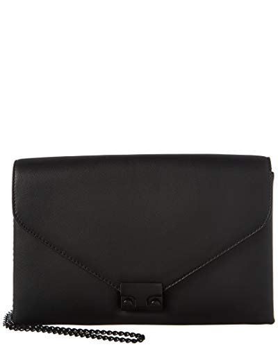 Loeffler Randall Lock Leather Clutch, Black