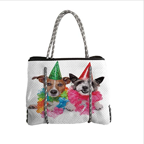 iPrint Neoprene Multipurpose Beach Bag Tote Bags,Birthday Decorations for Kids,Baby Dogs Terriers with Floral Chaplet Party Cones Image,Multicolor,Women Casual Handbag Tote Bags