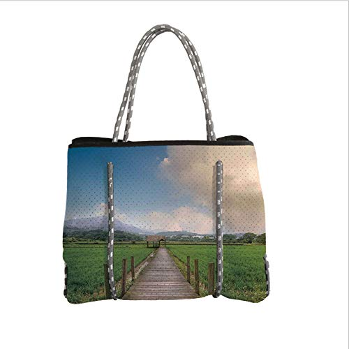 iPrint Neoprene Multipurpose Beach Bag Tote Bags,Farm House Decor,Rural Scenery with Wooden Path and House Under Cloudy Sky Mountain Serenity in Nature,Green Blue,Women Casual Handbag Tote Bags