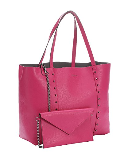 Furla Elle Rock Studded M Leather Tote Bag, Gloss Pink