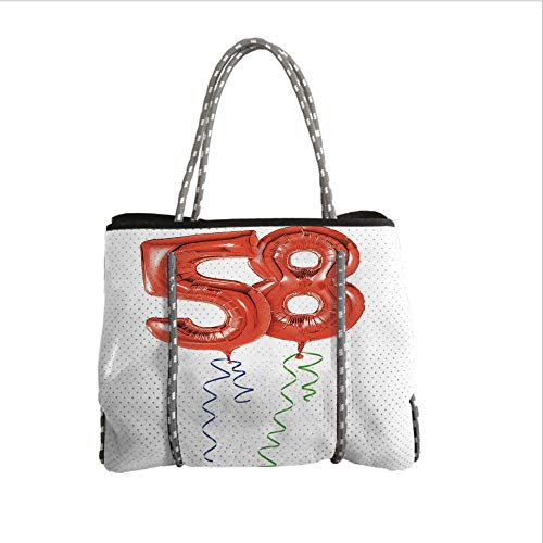 iPrint Neoprene Multipurpose Beach Bag Tote Bags,58th Birthday Decorations,Getting Older Best Wishes Balloons Party Day Anniversary Picture,Red White,Women Casual Handbag Tote Bags
