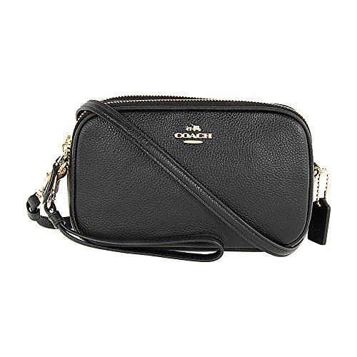 Coach Pebbled Crossbody Clutch, Light Gold/Black