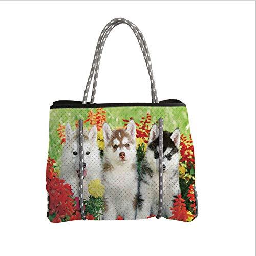 Neoprene Multipurpose Beach Bag Tote Bags,Dog Lover Decor,Three Siberian Husky Puppy on Grass Flowers Grass Nature Outdoors Summertime Family Friend,Women Casual Handbag Tote Bags