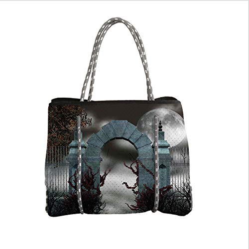 iPrint Neoprene Multipurpose Beach Bag Tote Bags,Gothic,Scary Medieval Middle Age Stone Gate with Fog Full Moon and Ivy Dark Night Theme Art,Grey Red,Women Casual Handbag Tote Bags