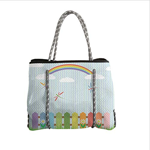 Neoprene Multipurpose Beach Bag Tote Bags,Dragonfly,Colorful Dragonflies Drifting Over Fences on a Sunny Rainbow Day Kids Nursery Theme,Multi,Women Casual Handbag Tote Bags