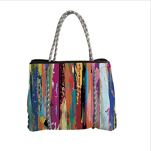 Neoprene Multipurpose Beach Bag Tote Bags,Abstract,Multicolored Expressionist Work of Art Vibrant Rainbow Design Tainted Pattern,Multicolor,Women Casual Handbag Tote Bags