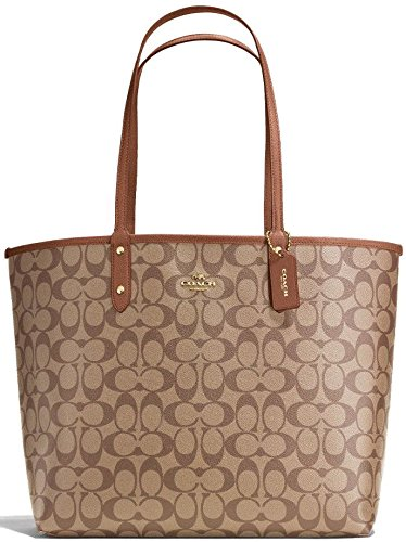 COACH REVERSIBLE CITY TOTE IN SIGNATURE F36658 IME74 (IM / KHAKI / SADDLE 2)