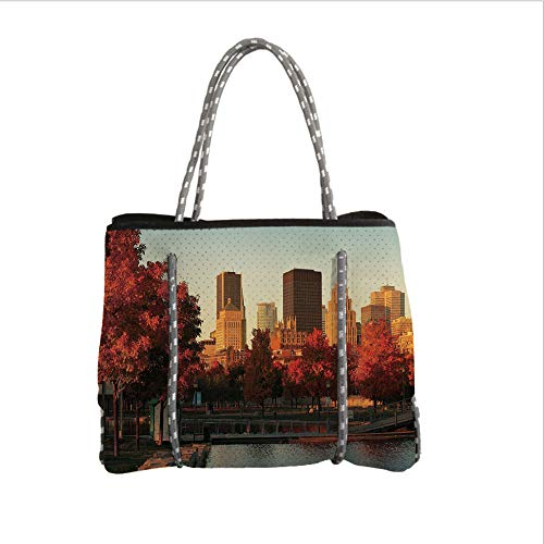 iPrint Neoprene Multipurpose Beach Bag Tote Bags,City,Old Port of Montreal Early in The Morning Scenic Autumn Trees Buildings Canada,Red Orange Brown,Women Casual Handbag Tote Bags