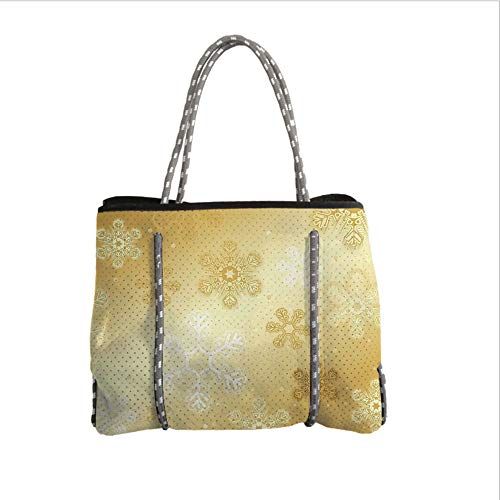 iPrint Neoprene Multipurpose Beach Bag Tote Bags,Christmas,Snowflakes Pattern on Gold Color Background Noel Holiday Yule Winter Themed Artsy Image,Gold,Women Casual Handbag Tote Bags