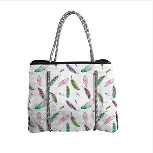 Neoprene Multipurpose Beach Bag Tote Bags,Feather House Decor,Irregular Watercolors Feather Patterns in Soft Pastel Mint Plumage Design,Multi,Women Casual Handbag Tote Bags