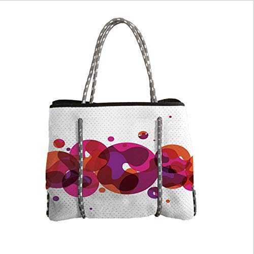 iPrint Neoprene Multipurpose Beach Bag Tote Bags,Abstract,Circles Small and Big Dots with Wavy Patterns Artistic Bubbles Border Decorative,Pink Fuchsia Orange,Women Casual Handbag Tote Bags